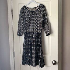 3/4 Sleeve Printed Fit-and-Flare Knit Dress